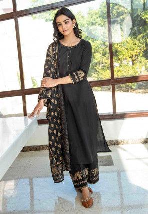 Golden Printed Pure Cotton Pakistani Suit in Black