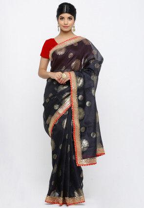 Golden Printed Pure Kota Silk Saree in Black