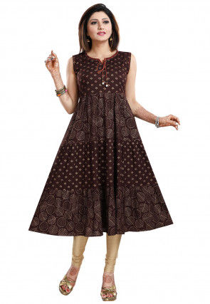 Golden Printed Rayon A Line Kurta in Dark Brown