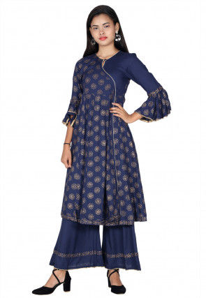 Golden Printed Rayon Angrakha Style Kurta in Navy Blue