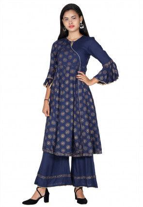 Golden Printed Rayon Angrakha Style Kurta in Navy Blue