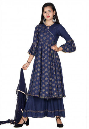 Golden Printed Rayon Angrakha Style Suit in Navy Blue