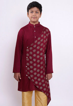 Golden Printed Rayon Asymmetric Kurta in Maroon