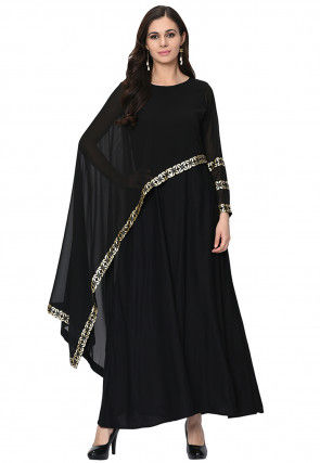 Golden Printed Rayon Cape Style Kurta in Black