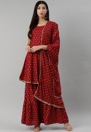 Golden Printed Rayon Cotton Pakistani Suit in Maroon