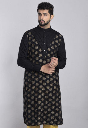 Golden Printed Rayon Kurta in Black