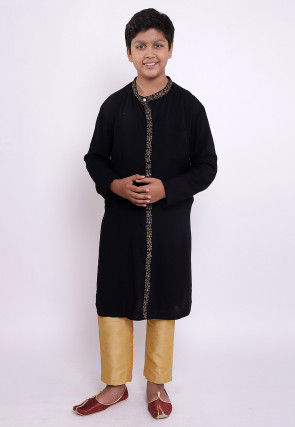 Golden Printed Rayon Kurta Set in Black