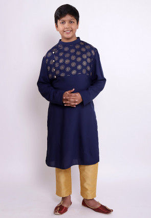 Golden Printed Rayon Kurta Set in Navy Blue
