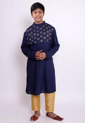 Golden Printed Rayon Kurta Set in Navy Blue