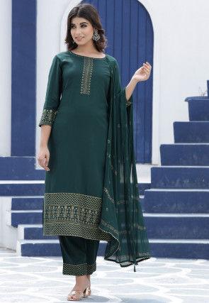 Golden Printed Rayon Pakistani Suit in Dark Teal Green