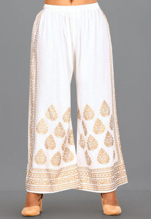 Golden Printed Rayon Palazzo in White