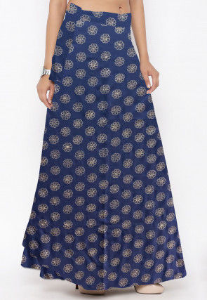 Golden Printed Rayon Skirt in Navy Blue