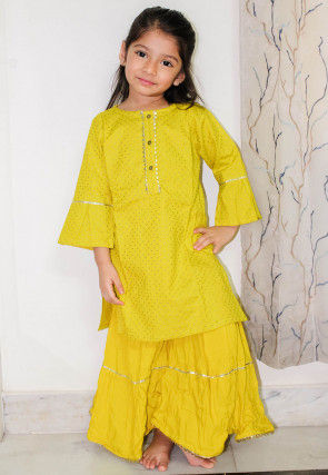 Golden Printed Rayon Straight Kurta Set in Yellow