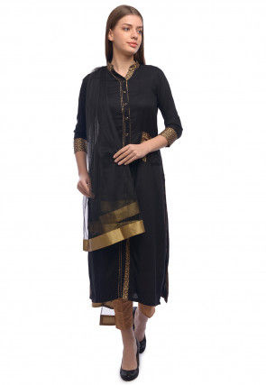 Golden Printed Rayon Straight Suit in Black