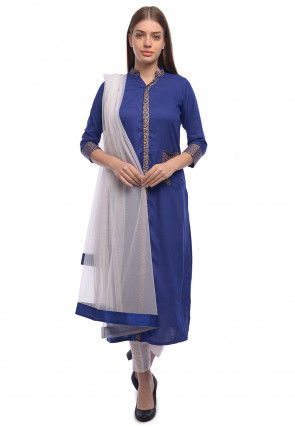 Golden Printed Rayon Straight Suit in Royal Blue