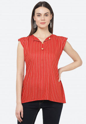 Golden Printed Rayon Top in Red