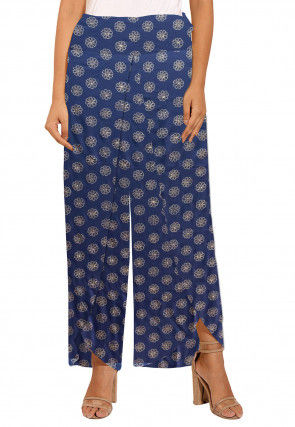 Golden Printed Rayon Tulip Pant in Navy Blue