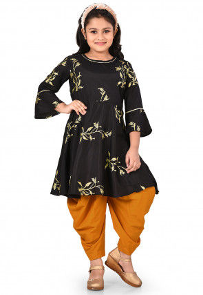 Golden Printed Taffeta Silk A Line Suit in Black