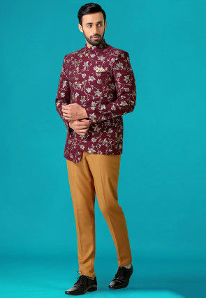 Golden Printed Terry Rayon Asymmetric Jodhpuri Suit in Wine