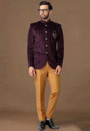 Golden Printed Velvet Jodhpuri Suit in Wine