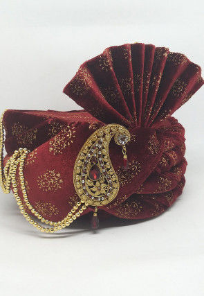 Golden Printed Velvet Turban in Maroon