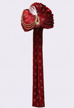 Golden Printed Velvet Turban in Red