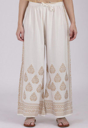 Golden Printed Viscose Cotton Palazzo in Off White