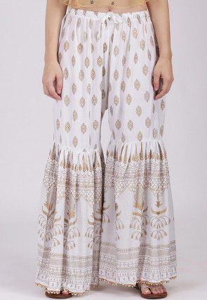 Golden Printed Viscose Cotton Sharara in Off White