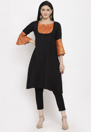Golden Printed Viscose Rayon Kurta with Pant in Black