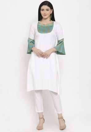 Golden Printed Viscose Rayon Kurta with Pant in White