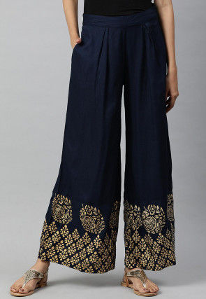 Golden Printed Viscose Rayon Palazzo in Navy Blue