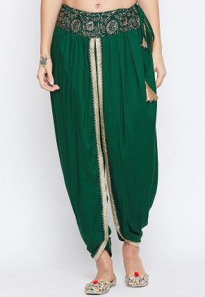 Golden Printed Waist Line Cotton Viscose Dhoti Pant in Green
