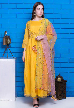 Gota Embellished Mulmul Cotton Pakistani Suit in Yellow