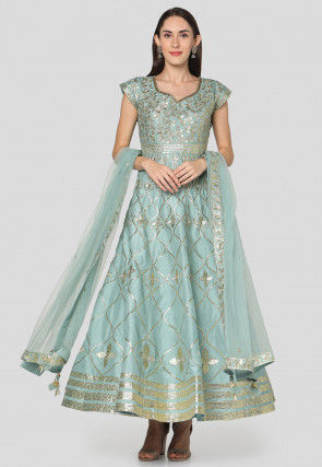 Gota Embroidered Art Silk Abaya Style Suit in Blue