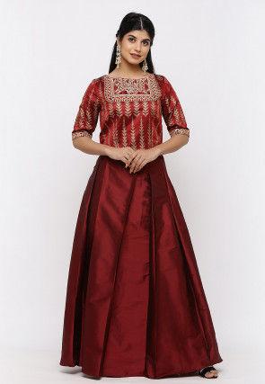 Gota Embroidered Art Silk Crop Top in Maroon