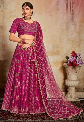 Gota Embroidered Art Silk Jacquard Lehenga in Magenta