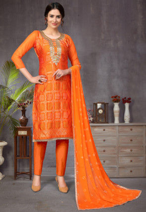 Gota Embroidered Art Silk Jacquard Pakistani Suit in Orange