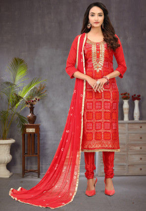 Gota Embroidered Art Silk Jacquard Straight Suit in Red