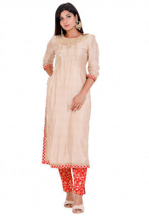 Gota Embroidered Art Silk Kurta in Beige