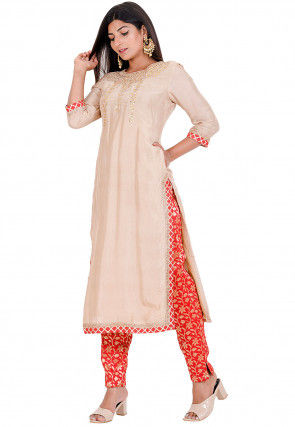 Gota Embroidered Art Silk Kurta with Pant in Beige