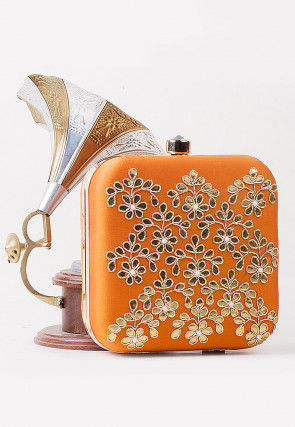 Gota Embroidered Art Silk Square Clutch Bag in Orange