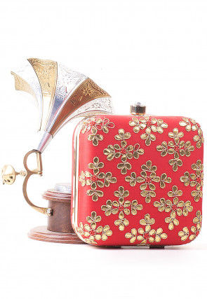 Gota Embroidered Art Silk Square Clutch Bag in Red