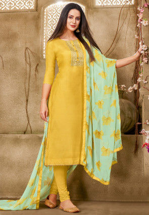 Gota Embroidered Chanderi Cotton Straight Suit in Yellow