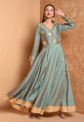 Gota Embroidered Chanderi Silk Kurta in Dusty Green Dual Tone