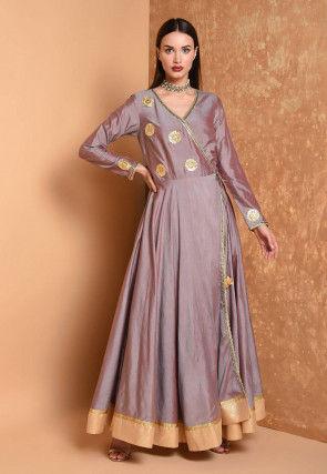 Gota Embroidered Chanderi Silk Kurta in Dusty Purple