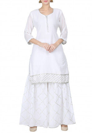 Gota Embroidered Chanderi Silk Kurti with Sharara in White