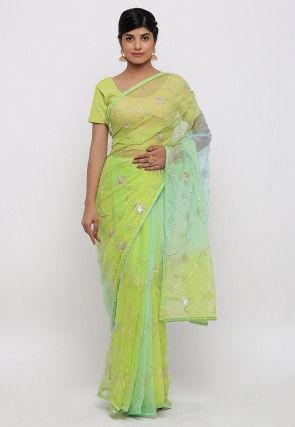 Gota Embroidered Chiffon Saree in Light Green