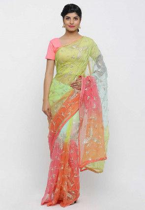 Gota Embroidered Chiffon Saree in Multicolor