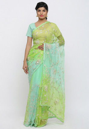 Gota Embroidered Chiffon Saree in Shaded Green
