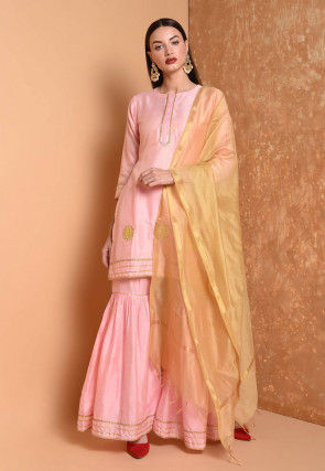 Gota Embroidered Cotton Chanderi Pakistani Suit in Light Pink